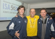 """ISA President Fernando Aguerre with Luis Iturria and """"Toti"""" Gattas, President of the Uruguayan Surfing Federation. Photo: ISA/Michael Tweddle"""