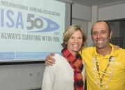 ISA President Fernando Aguerre with the newly elected ISA Vice President Barbara Kendall. Photo: ISA/Michael Tweddle