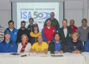The new ISA Executive Board joined by representatives of ISA Member Nations including: Costa Rica, Mexico, Argentina, Israel, Japan, Colombia, Chile, Tahiti, South Africa, Venezuela, and Uruguay, during the elections at the Biennial General Meeting. Photo: ISA/Michael Tweddle