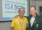 ISA President Fernando Aguerre and Johnny Bakker from South Africa. Credit: ISA/ Michael Tweddle