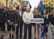 Team New Zealand, ISA President Fernando Aguerre, Eduardo Arenas and IOC Member and Olympic Gold Medalist Barbara Kendal. Credit: ISA/Michael Tweddle