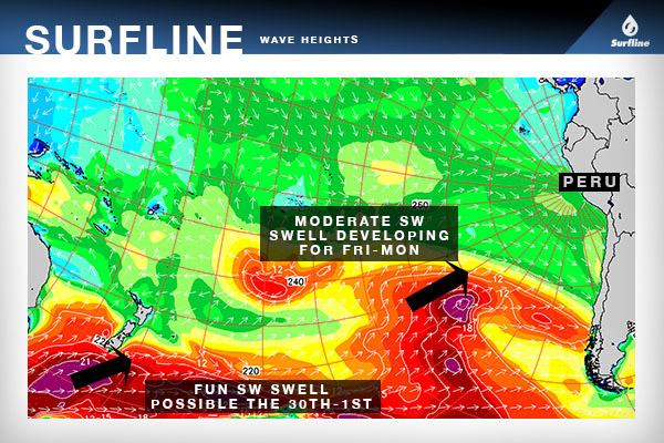The Surfline wave heights chart of the South Pacific displays the moderate SW swell developing for the opening days of the event holding period, with smaller SW swell possible for the end of the holding period from storm activity near New Zealand.