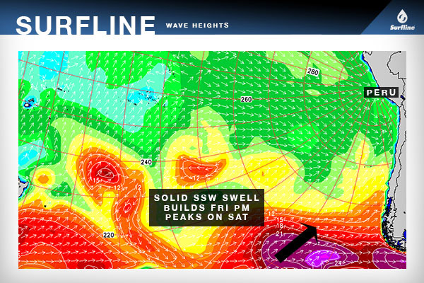 The Surfline wave heights chart of the South Pacific displays the good size SSW swell that will peak on Saturday.
