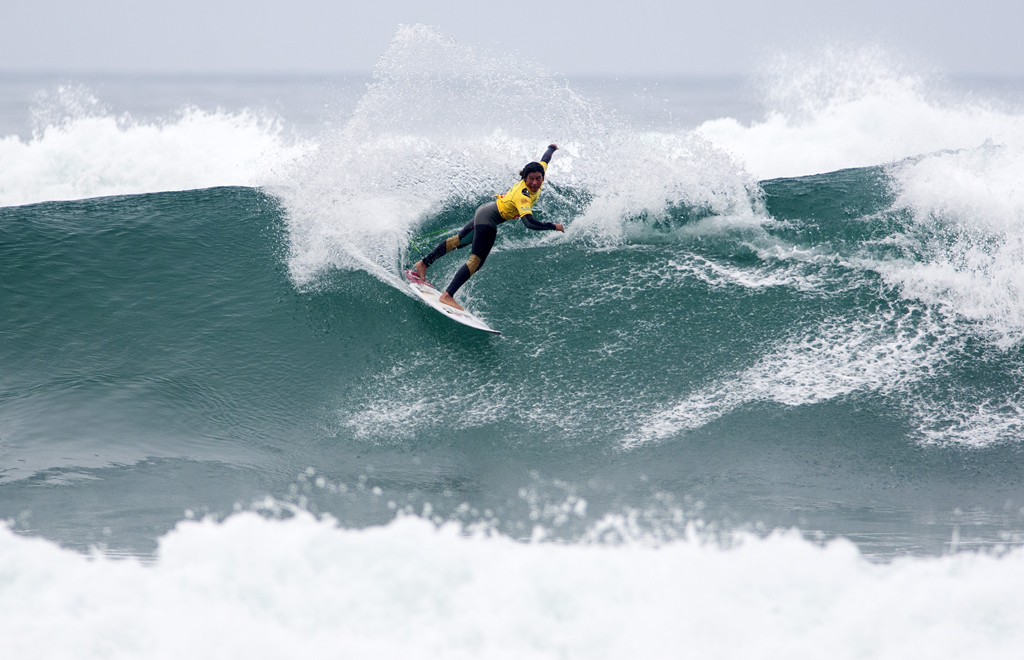 "Ecuador Team Member, Dominic ""Mimi"" Barona took full advantage of Punta Rocas' incredible conditions, dominating her heat and earning the event's highest total heat score of 18.23. Photo: ISA/ Rommel"