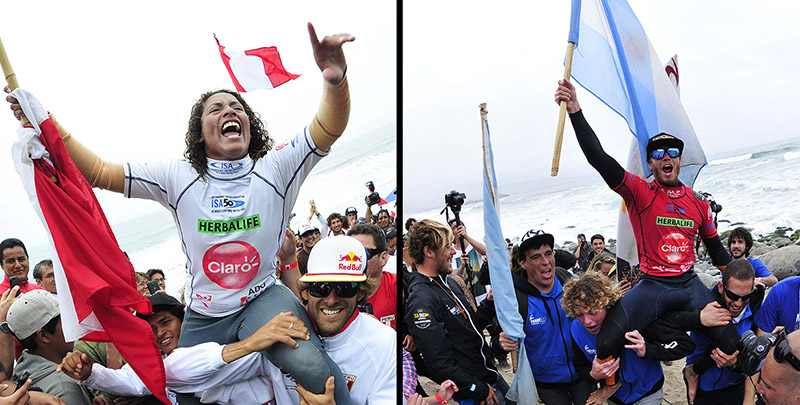 Peru's Anali Gomez (left) is the new Women's Champion and Argentina's Leandro Usuna (right) is the Open Men's Champion at the Claro ISA 50th Anniversary World Surfing Games. Photo: ISA/Rommel Gonzales