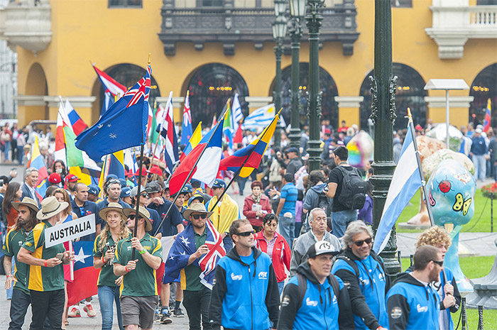 The National Delegations paraded around the city square and walked by the Presidential Palace, the Municipality of Lima and the Cathedral, which was crowded with thousands of local supporters and spectators. Photo: ISA/Rommel Gonzales